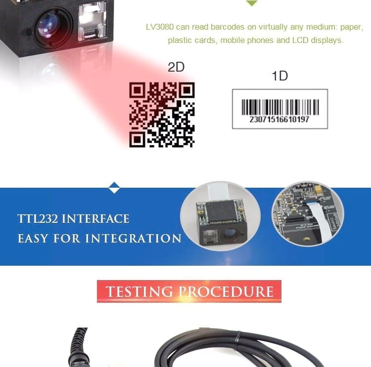 LV3080 World's Smallest 2D CMOS OEM Barcode Scanner Module to Scan QR code, DM and PDF417