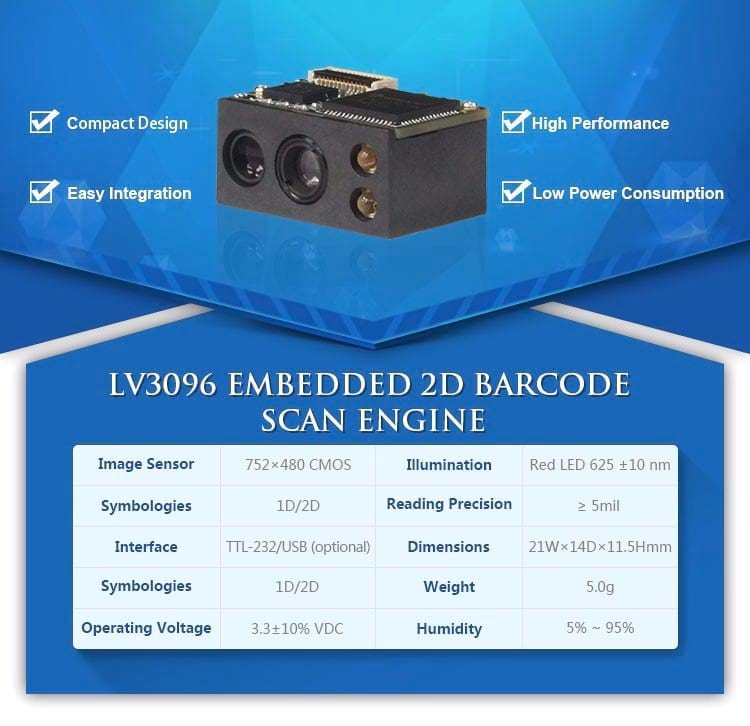 Cost Effective Embedded 2D OEM Barcode Scanner Module to Scan QR code, DM and PDF417