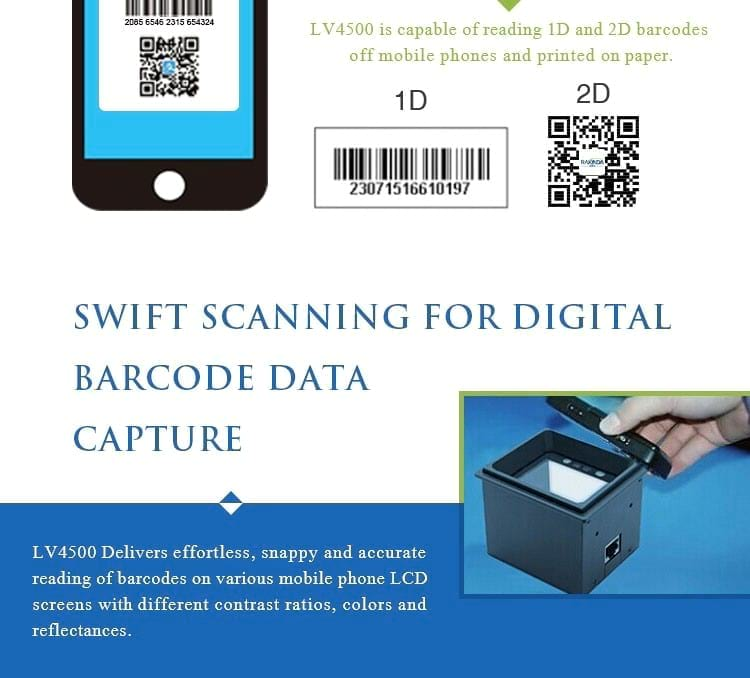 Fixed Mount Barcode Scanner for Access Control System