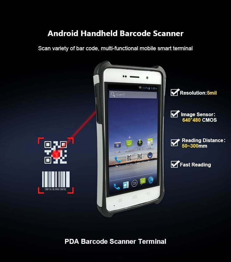 handheld logistic pda Android 5.1 handheld barcode scanner pda terminal with NFC and 4G Wifi GPS